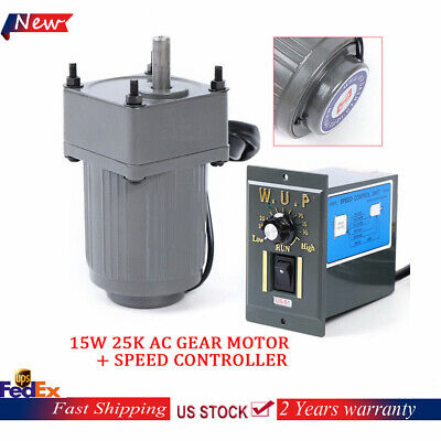 110v 15w Gear Motor Electric Variable Speed Controller 110 125rpm Slow Turn Us