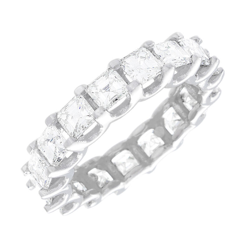 Platinum Asscher Shape Diamond Eternity Ring Dia Certified 6.05 Carat