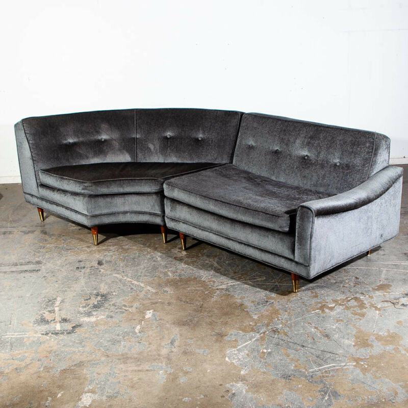 Mid Century Modern Sectional Sofa Kroehler Valentine Couch Grey Blue Danish