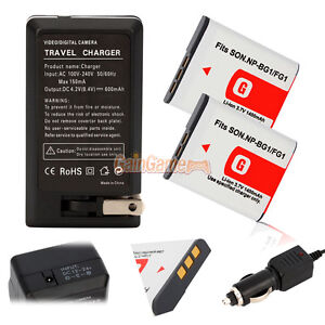 2* NP-BG1 Battery+Charger for SONY Cyber-Shot DSC-H10 H20 H50 H55 H70 H9 N2 H7