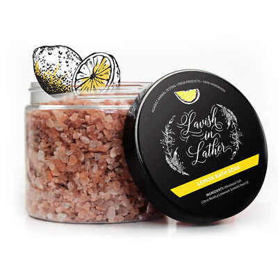Himalayan Bath Salt Crystals (Lemon Himalayan Bath Salts - Homemade Bath Soak Pink Crystals Skin Safe )