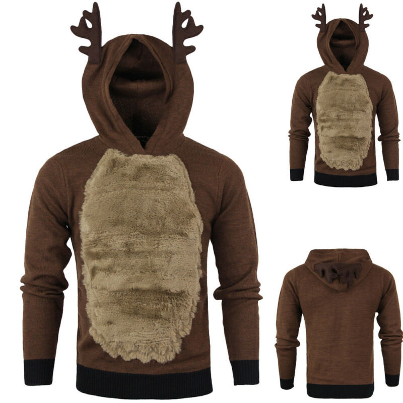 Men Autumn Winter Xmas Hoody Reindeer Deer Jacket Hooded Christmas Fur Pullover