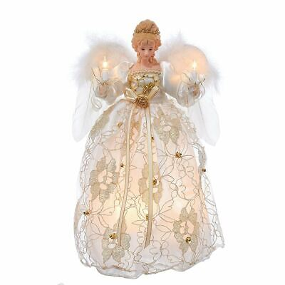 "Ivory And Gold Angel Light Up Christmas Tree Topper 12"" Tall NEW UL2214"