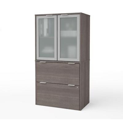 i3 Plus Lateral File with Storage Cabinet in Bark - Gray Lateral Storage Cabinet