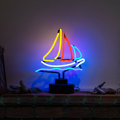 Real Glass Neon Sculpture Theme Light Yacht Boating Table Lamp Large SAILBOAT