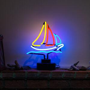 autentico-Cristal-Neon-Escultura-Tematica-luz-Yate-Barco-Lampara-de-mesa-grande