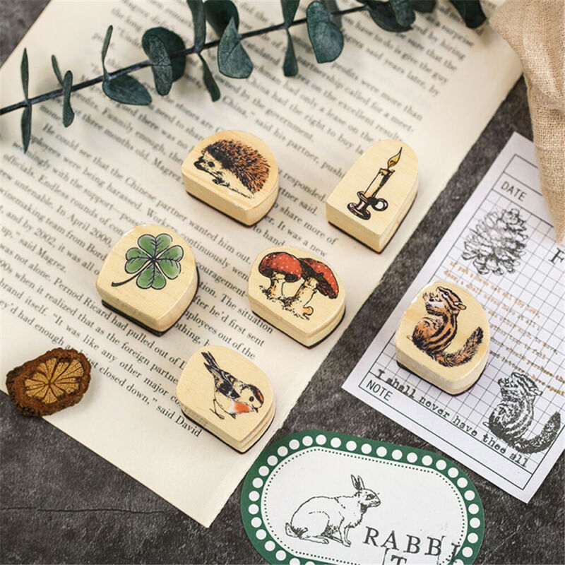 Tiere Malerei Papier Stempel aus Holz Serie Forest Karten Dekor Scrapbooking
