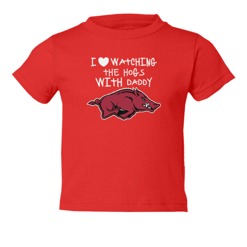 Arkansas Razorbacks Watching With Daddy Kids Toddler T-Shirt