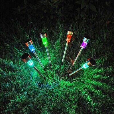 6Pcs Solar Garden Lights LED Stainless Steel Waterproof Landscape Lawn Decor English Garden 3 Light