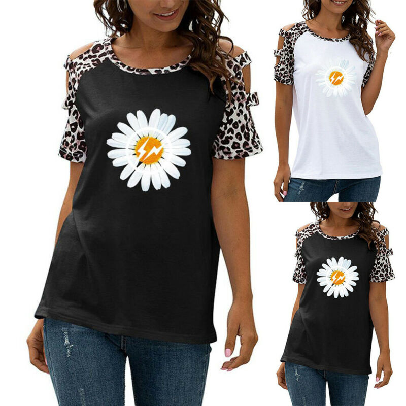 Women Printed Cold Shoulder Short Sleeve Tee Tops Summer Casual Blouse T-Shirt Clothing, Shoes & Accessories