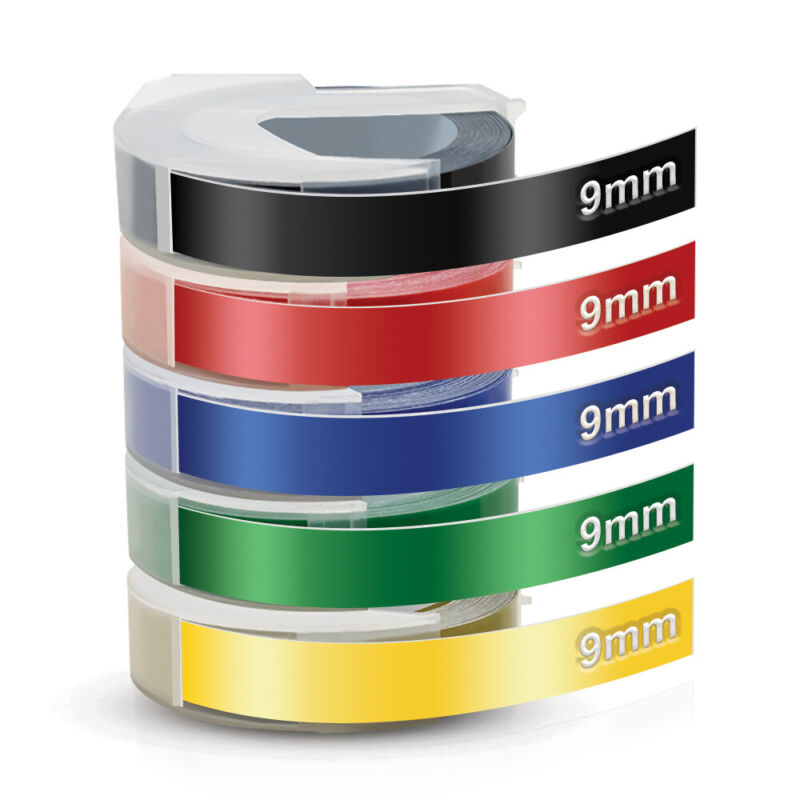 """5 Rolls Colorful Label Tape for Dymo 3D 9mm Embossing Label Maker Tape 3/8"""" x 3m"""