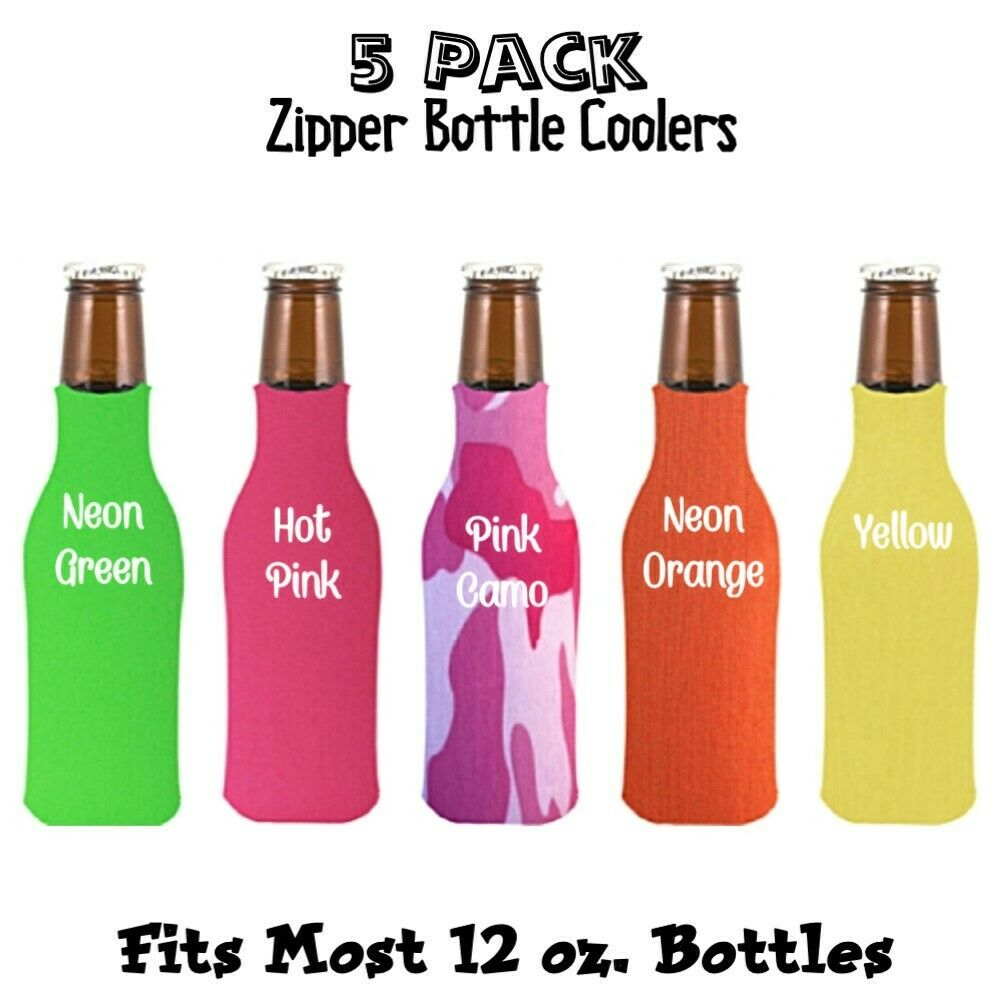 5 Pack Blank Foam Can & Bottle Coolers Zipper Beer Bottle Co