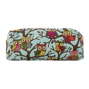 Owl Butterfly Floral Pencil Pen Case Cosmetic Make Up Bag Storage Pouch