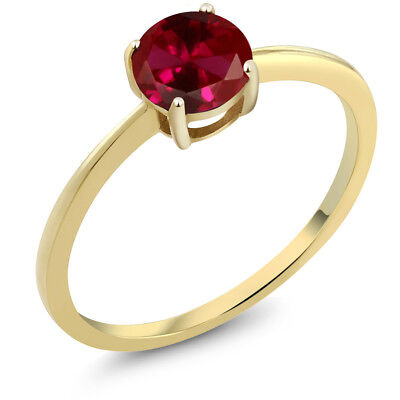 (10K Yellow Gold 1.00 Ct Round Red Created Ruby Solitaire Engagement Ring)