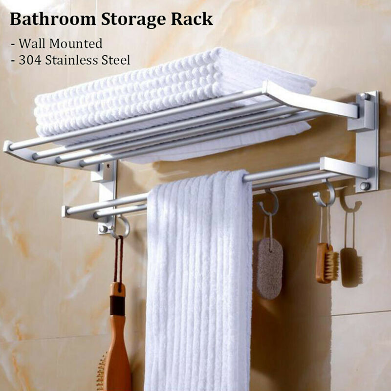 Wall Mounted Storage Rack Hooks Towel