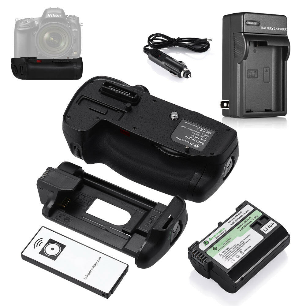 Mb-d14 Battery Grip Holder For Nikon D600 + En-el15 Batte...