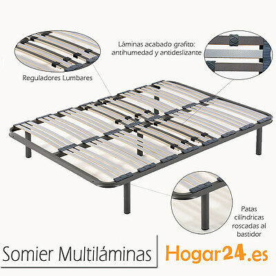 Somier Somieres multilaminas 135x190cm + 5 patas cilindricas, tubo 40x30.