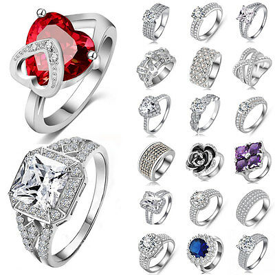 Women Fashion Charm CZ 925 Sterling Silver Rings Crystal Wedding Engagement Gift