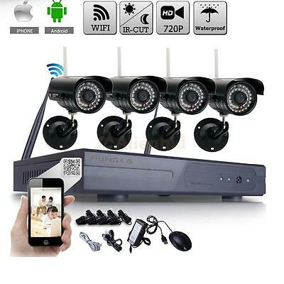 WIFI 4CH HDMI CCTV NVR Outdoor Wireless 720P HD Camera Home Security System UK