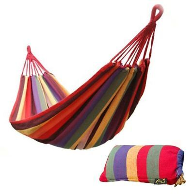 "68"" x 32"" Canvas Garden Hammock Outdoor Camping Portable Travel Beach Swing Bed"
