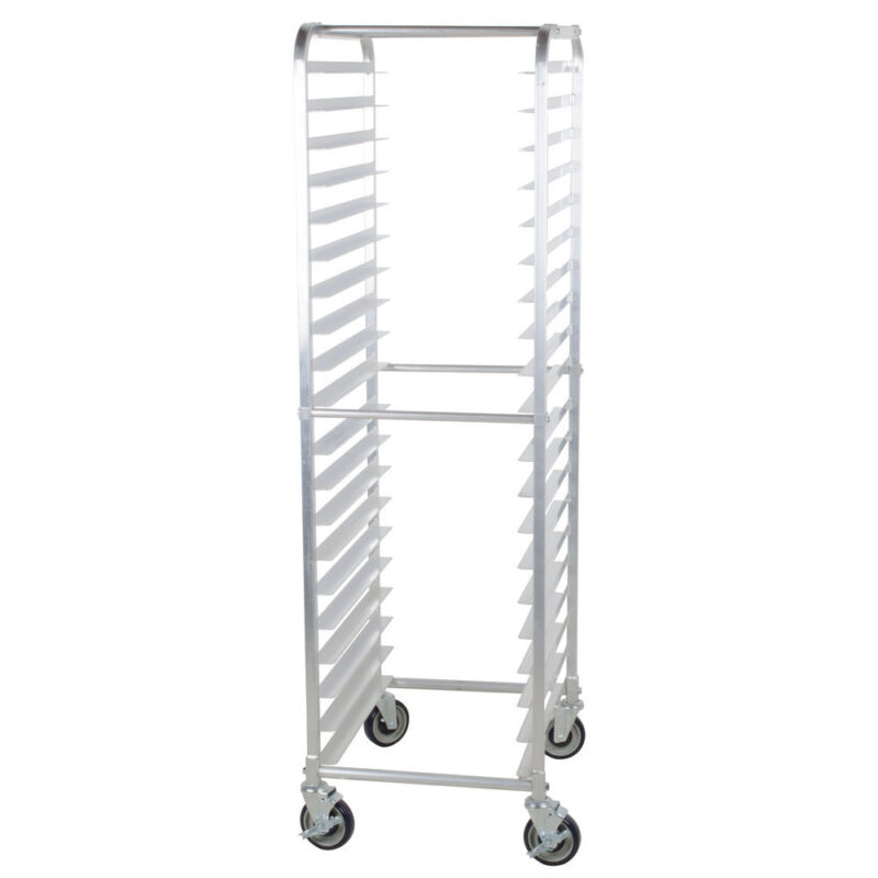20 Pan Aluminum End Load Bun / Sheet Pan Rack Non-Marking Casters
