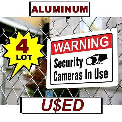 Used Warning Security Surveillance Camera In Use 10x14 Aluminum Metal Yard Sign