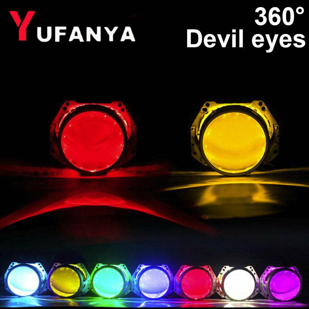 2x Blue LED Devil Demon Halo Angel Eyes For 3.0/'/' Car Headlight Projector Lens