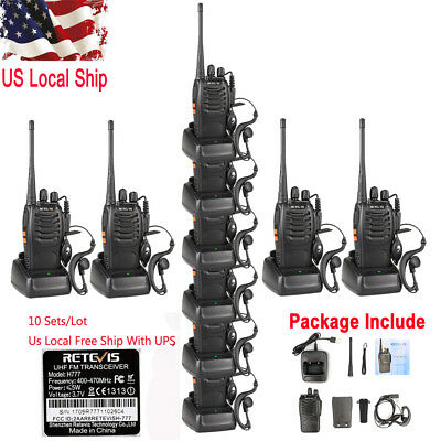 10X Retevis H777 Walkie Talkie 5W CTCSS/DCS UHF400-470MHz 16CH FM 2-Way Radio US
