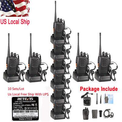 10X Retevis H777 Walkie Talkie 5W CTCSS/DCS UHF400-470MHz 16CH FM 2-Way Radio US