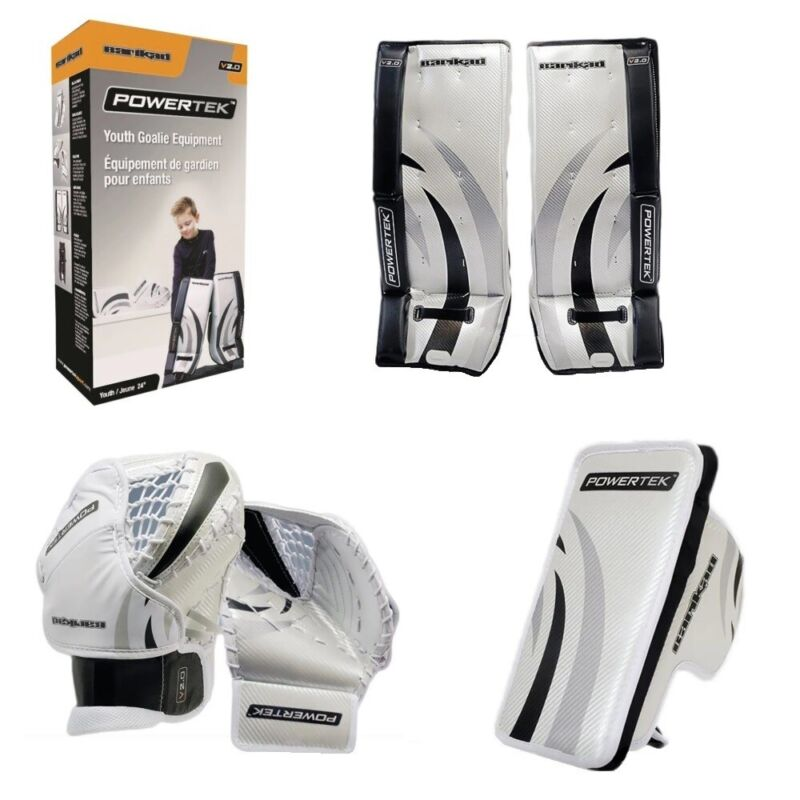 "PowerTek Barikad 2.0 JUNIOR Hockey GOALIE Pad Set - 26"" Leg Pads, Glove, Blocker"