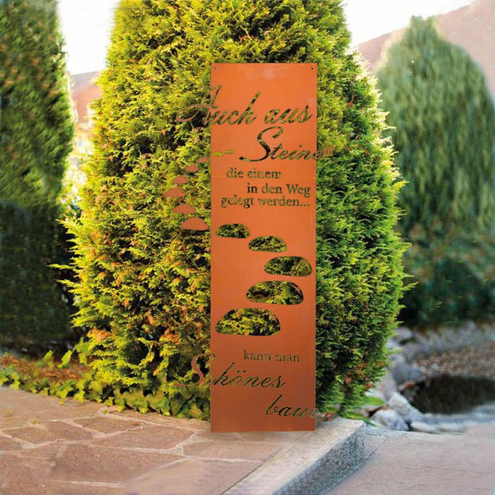 HOME DELUXE Edel Rost Garten Dekoschild Spruchtafel Gartenschild Gartenstecker