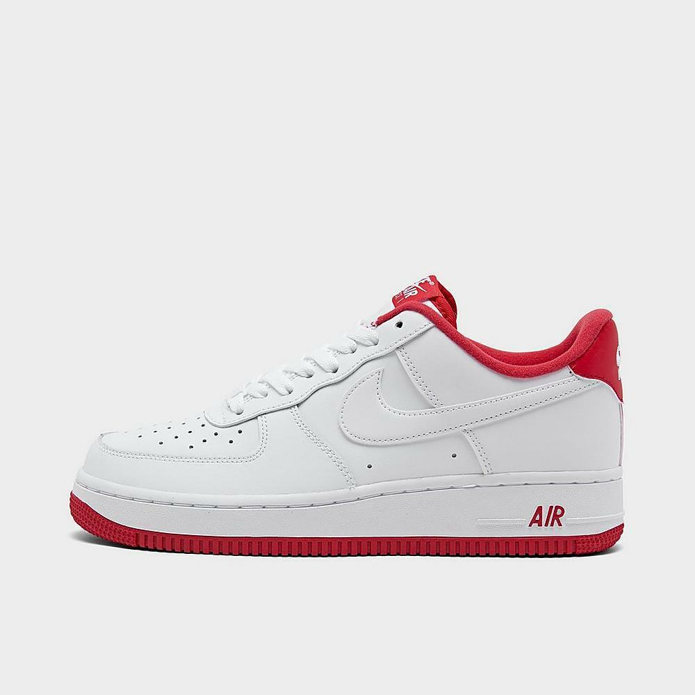 New Men's Nike Air Force 1 Low Athletic Lifestyle Leather Sneakers | White & Red