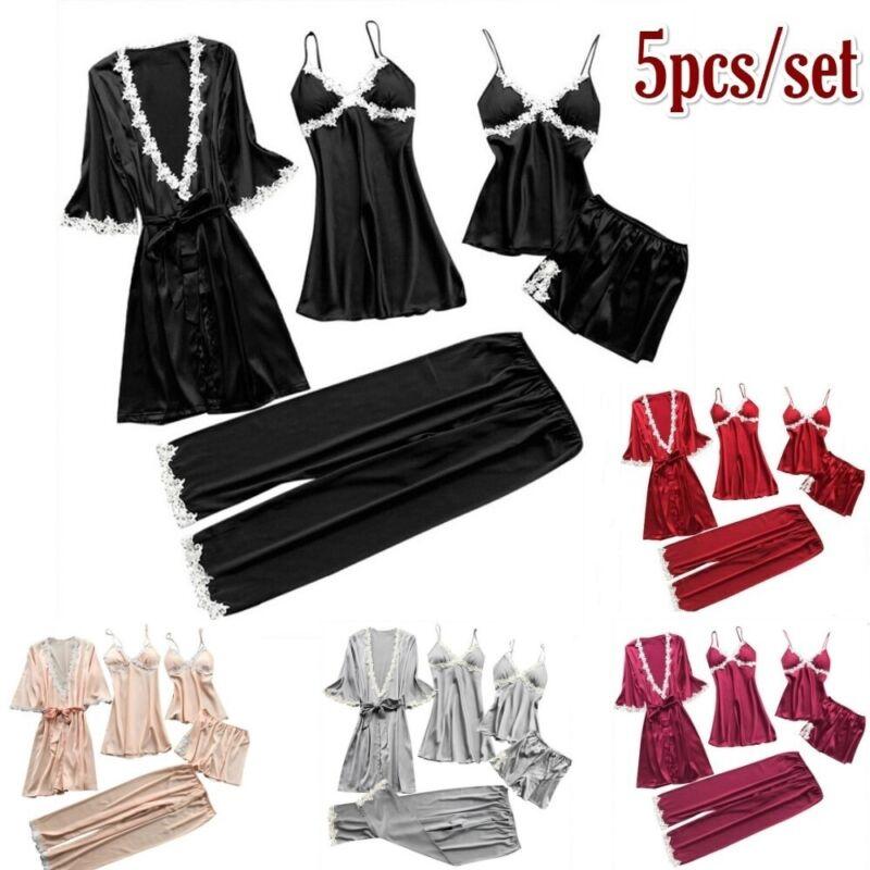 5 Stück / Set Damen Seidenpyjama Robe & Kleid Nachtwäsche Pyjama Bademantel