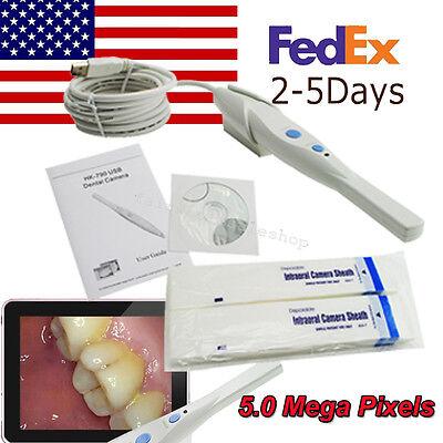 Usa Hk790 Dental 6-led 5.0 Mega Pixels Intraoral Oral Camera Usb 5-50mm Point