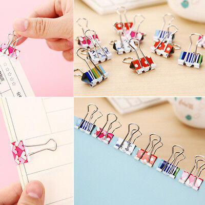 10pcs Small Size 38mm Printed Metal Binder Clips Paper Clip Clamp Color Random