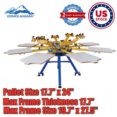 Us Stock 8 Color 8 Station Screen Printing Machine Press T-shirt Printer Diy New