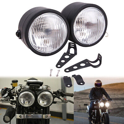 Black Twin Headlight Motorcycle Double Dual Lamp Street Fighter Universal