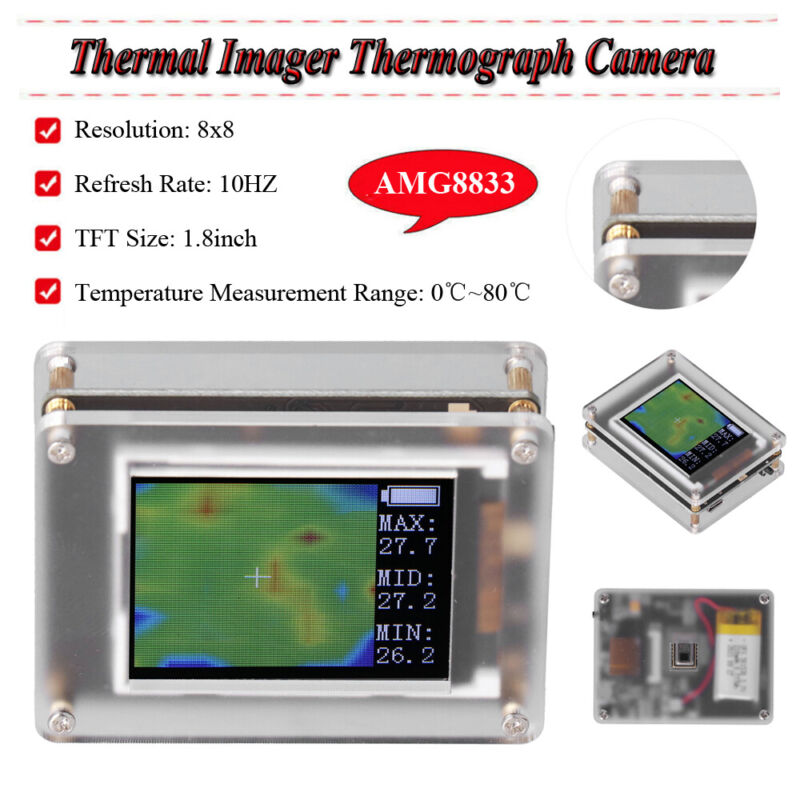 1.8in TFT Thermal Imager Thermograph Camera Infrared Imaging Detector AMG8833