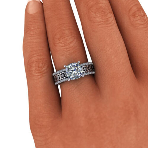 Cushion Cut Diamond Wedding Special Ring Solid White Gold 2.34 Ct