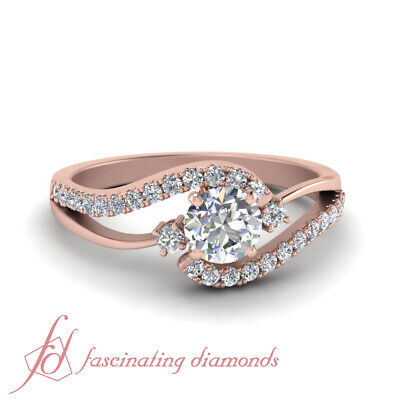 1 Carat Round Cut Diamond Three Stone Bypass Engagement Ring In 14K Rose Gold