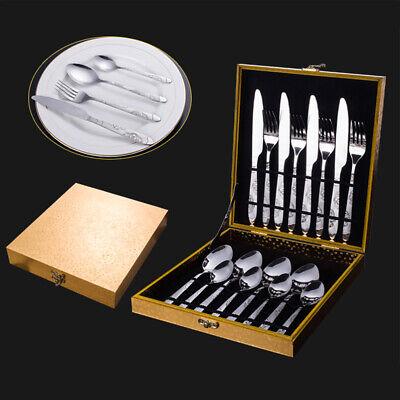Set Servizio 16 Posate 4 Persone in Acciaio Inox con Forchette Cucchiai Coltelli