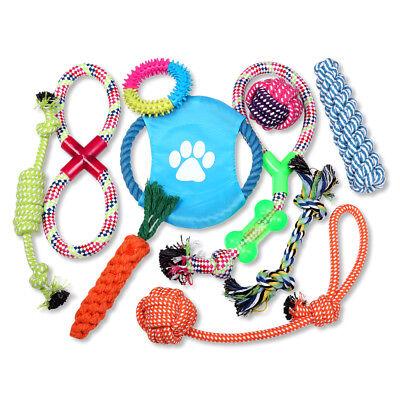 Schramm® 10er Set Hunde Spielzeug aus Seil Kauspielzeug Hundespielzeug 10 Teile