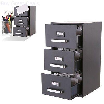 3-drawer Mini Filing Cabinet Storage Office Home Organization Tool 9hx 6dx 5w