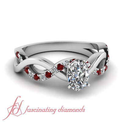 Pave Set Round Ruby Engagement Ring 0.70 Ct Oval Shaped VVS2-G Color Diamond GIA
