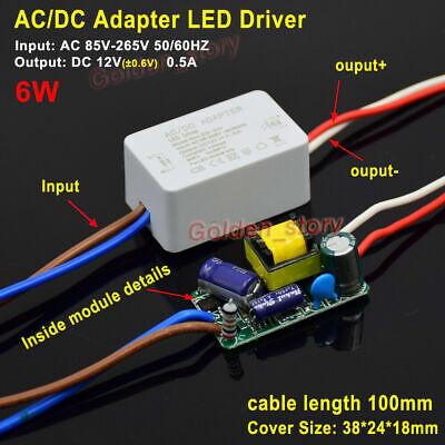 AC to DC Adapter LED Light Driver 110V 120V to 12V 6W 0.5A Power Supply Module 12v Ac To 120v Adapter