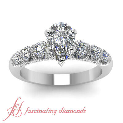 1 Carat Platinum Diamond Engagement Rings For Women With Pear Shaped In Center 1