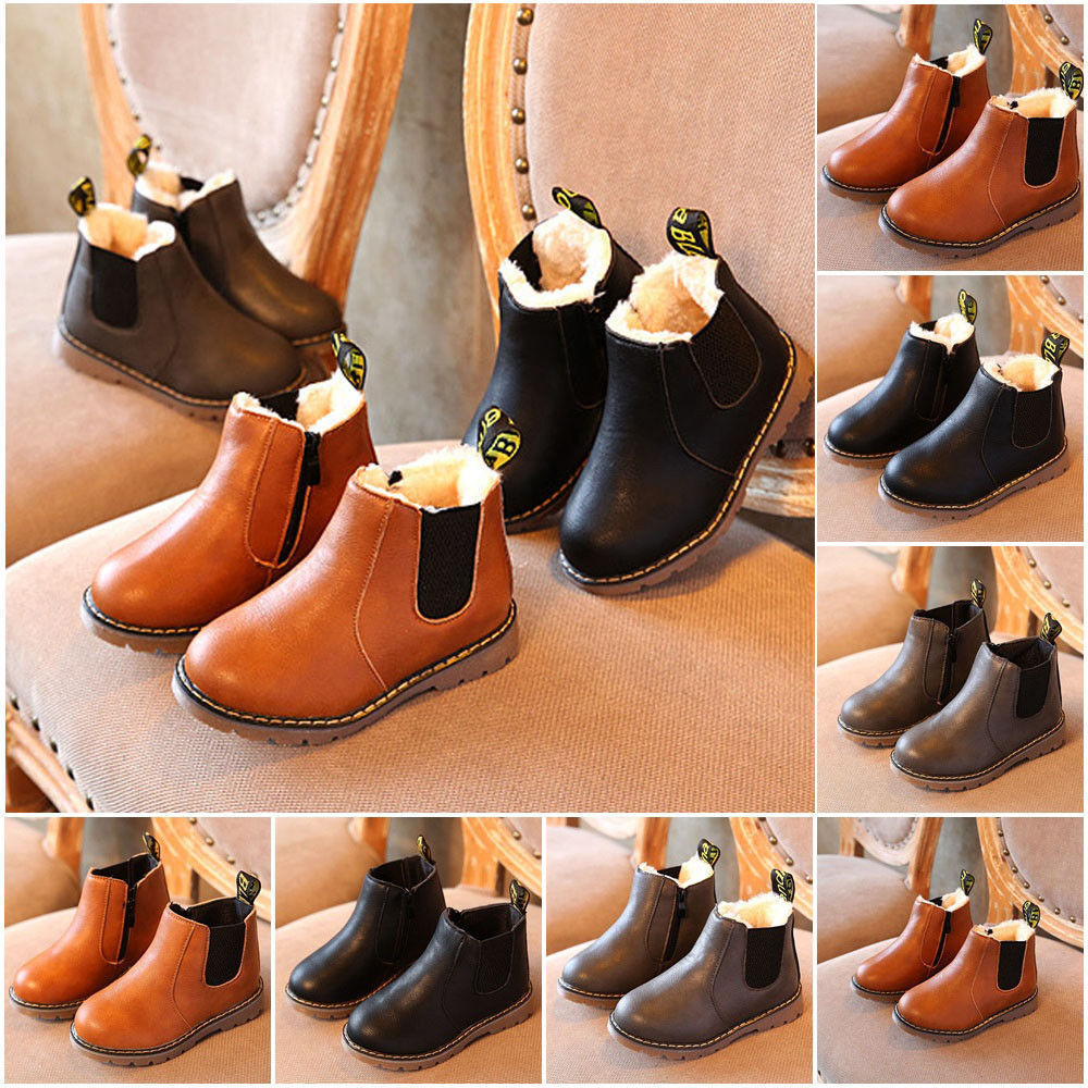 UK Children Kid Boys Girls Ankle Boots Warm Fur Lined Toddler Chelsea Shoes Size