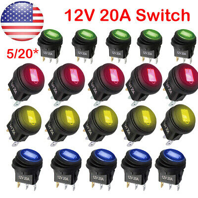 5 20 Rocker Switches 12v Round Toggle Onoff 20a Car Snap In Switch Led Us