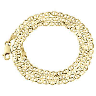Real 10K Yellow Gold Solid Flat Mariner Chain 3.25mm Necklace Plain 16-26 Inches