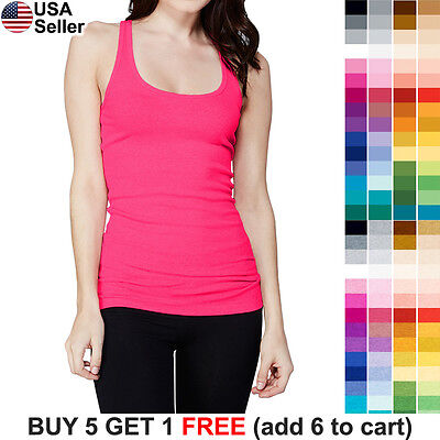 (Ribbed Racerback Tank Top Cotton Layering Stretch Womens Tee Shirt Camisole 1159)